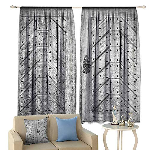 Rustic Decor Collection Thermal Insulated Drapes for Kitchen/Bedroom Old Door Exit Brads Nailed Penal Old Fashioned Culture Middle Ages Artwork Print Noise Reducing