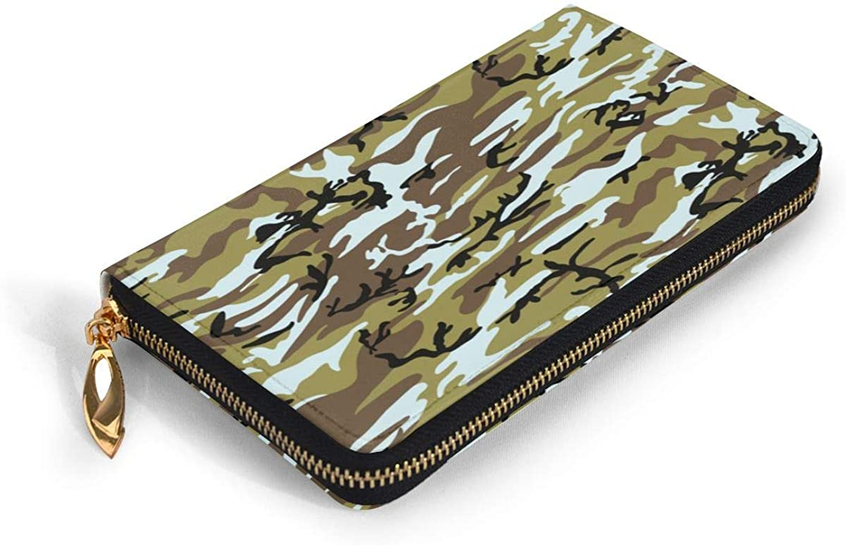 Camouflage Womens Genuine Leather Wallet Zip Around Wallet Clutch Wallet Coin Purse