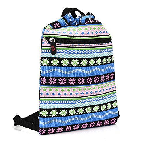 KroO Tablet Drawstring Bag Sleeve fits Kindle Fire Voyage, HD 6, HDX 7, HD 8.9 Keyboard 3G, Blue Abstract Tribal