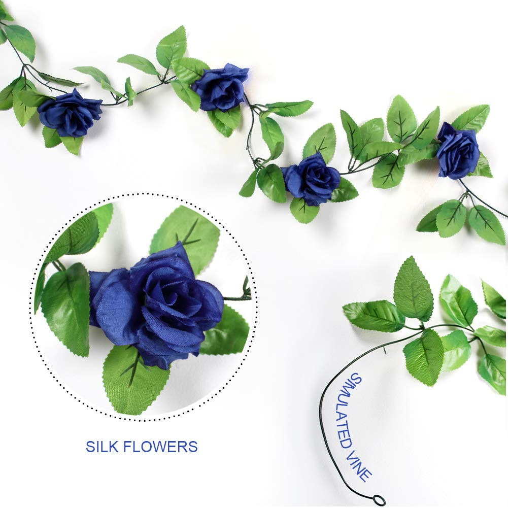 Amazon stillcool 8ft rose garland artificial rose vine silk amazon stillcool 8ft rose garland artificial rose vine silk floral flower garland green leaf flowering vine home decor wedding decoration dark blue izmirmasajfo