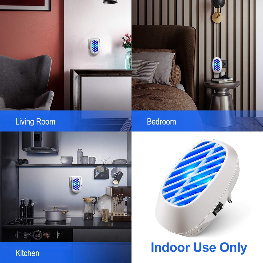 500 Sq Ft Indoor Plug-in Fliegenfalle f/ür das Haus Garten Terrasse B/üro Gesch/äft Laprado Elektrischer Insektenvernichter Lampe Blau M/ückenlampe Insektenfalle