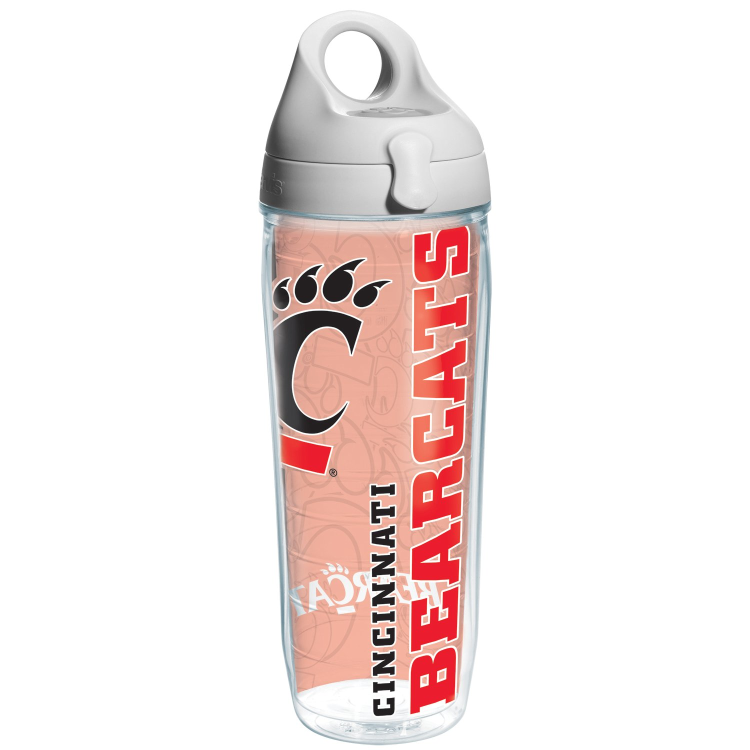 Tervis Cincinnati University Of College Pride Water Bottle with Grey Lid, 24 oz, Clear