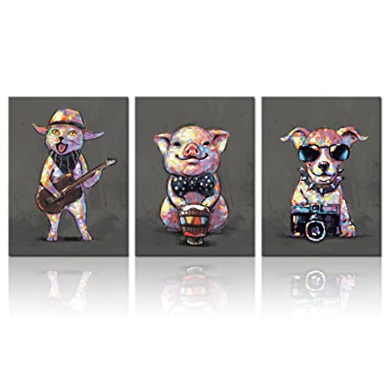 Visual Art Decor Cartoon Funny Animals Wall Art Canvas Prints Lovely Pig Dog Cat Pet Painting