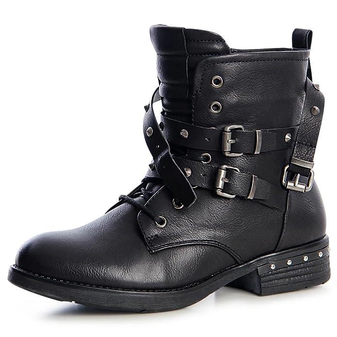 topschuhe24 1256 Damen Nieten Worker Boots Stiefeletten Schnürer, Größe:37, Farbe:Schlamm