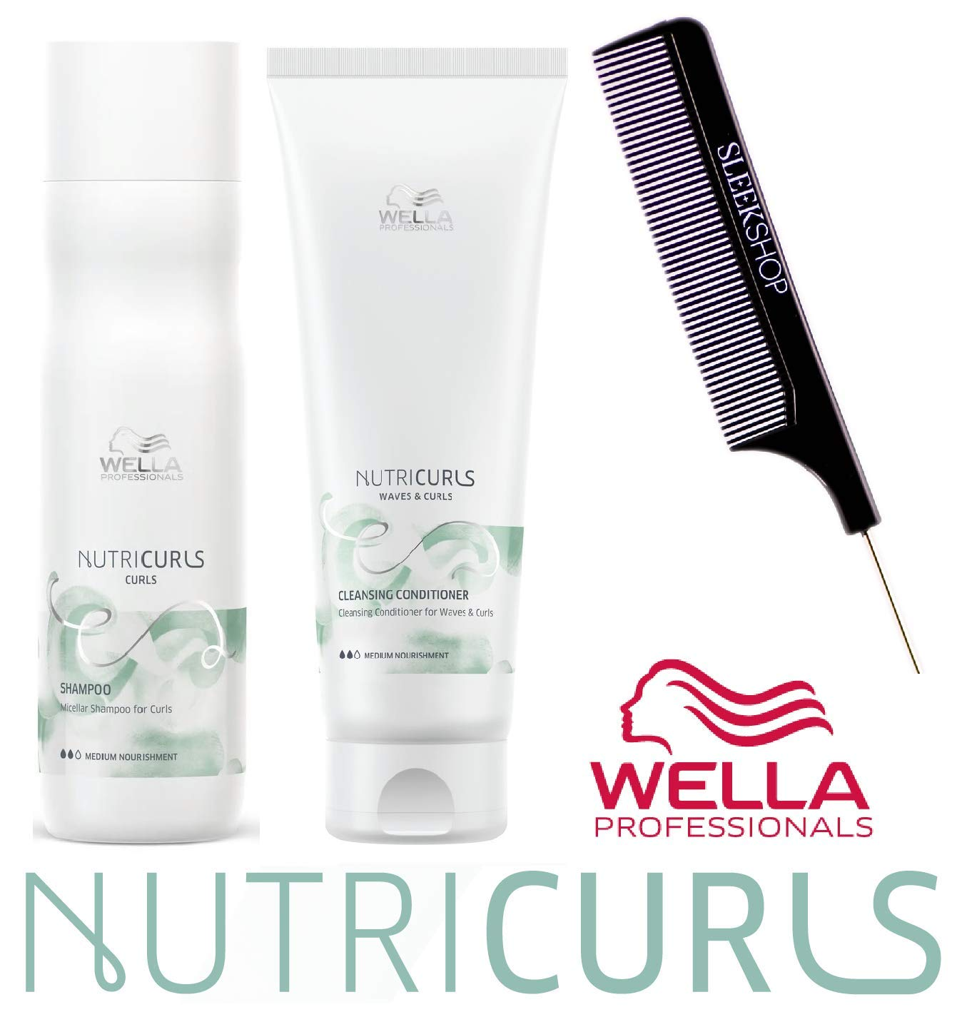 Wella NUTRICURLS Michellar Shampoo & Cleansing Conditioner for WAVES & CURLS Duo Set (w/Sleek Comb) Medium Nourishment, No Sulfates Added (8.4 oz + 8.4 oz - DUO KIT) by Coty Wella