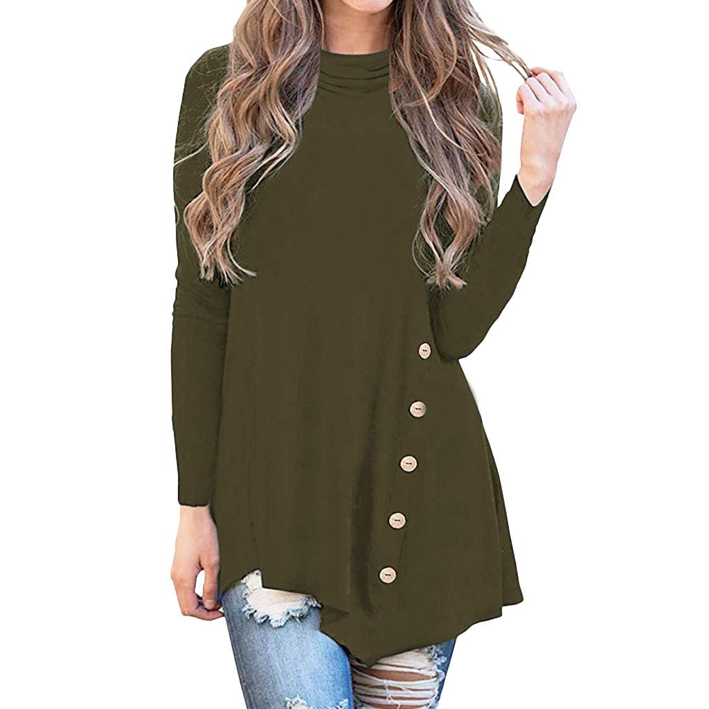 Lmx+3f Women's Irregular Long Sleeve Button Tunic Tops Turtleneck Asymmetrical Blouse Solid Color Soft Comfy Top Army Green