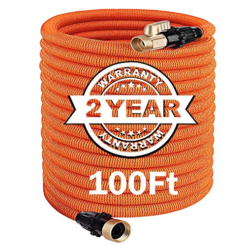 TACKLIFE 100FT Expandable Garden Hose with Double Latex Core, 3/4′ Brass Fittings Heavy Duty, No Kink Flexible and No-Leak Lightweight Gardening Water Hose for Lawn/Pet/Car/Boat Wash – GGH2A