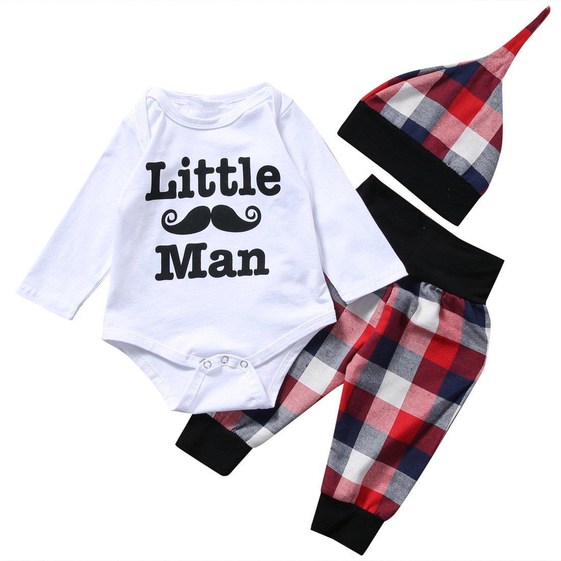 Newborn Baby Boy Girl Clothes Little Man Long Sleeve Romper, Plaid Pants + Cute Hat 3pcs Outfit Set