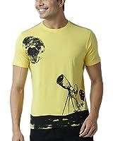 Huetrap Men's Alien Telescope Yellow T Shirt