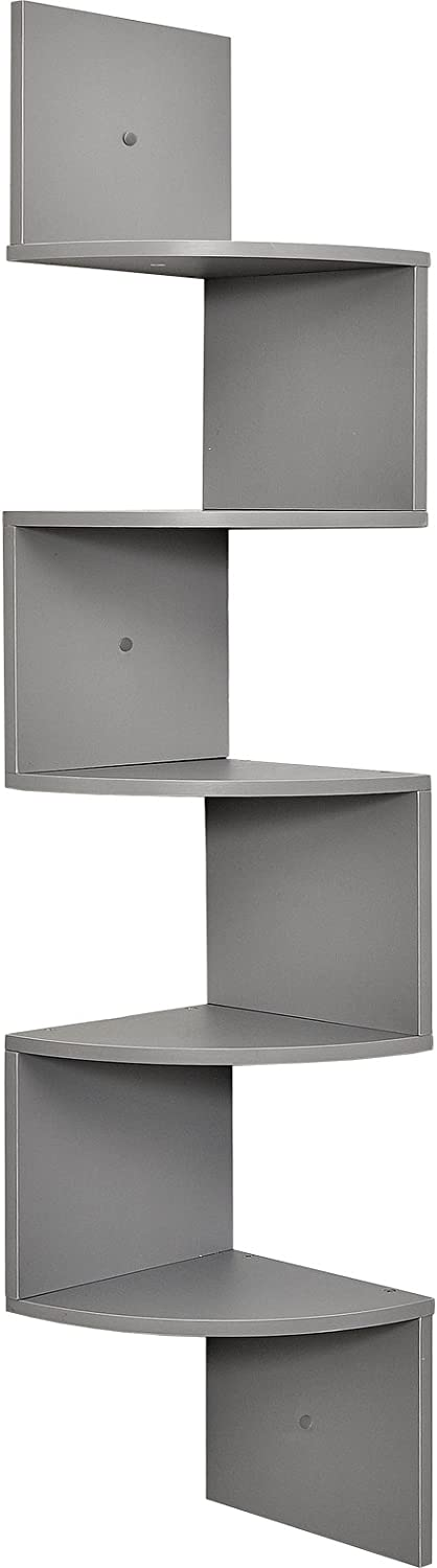Greenco 5 Tier Wall Mount Corner Shelves Gray Finish: Home & Kitchen