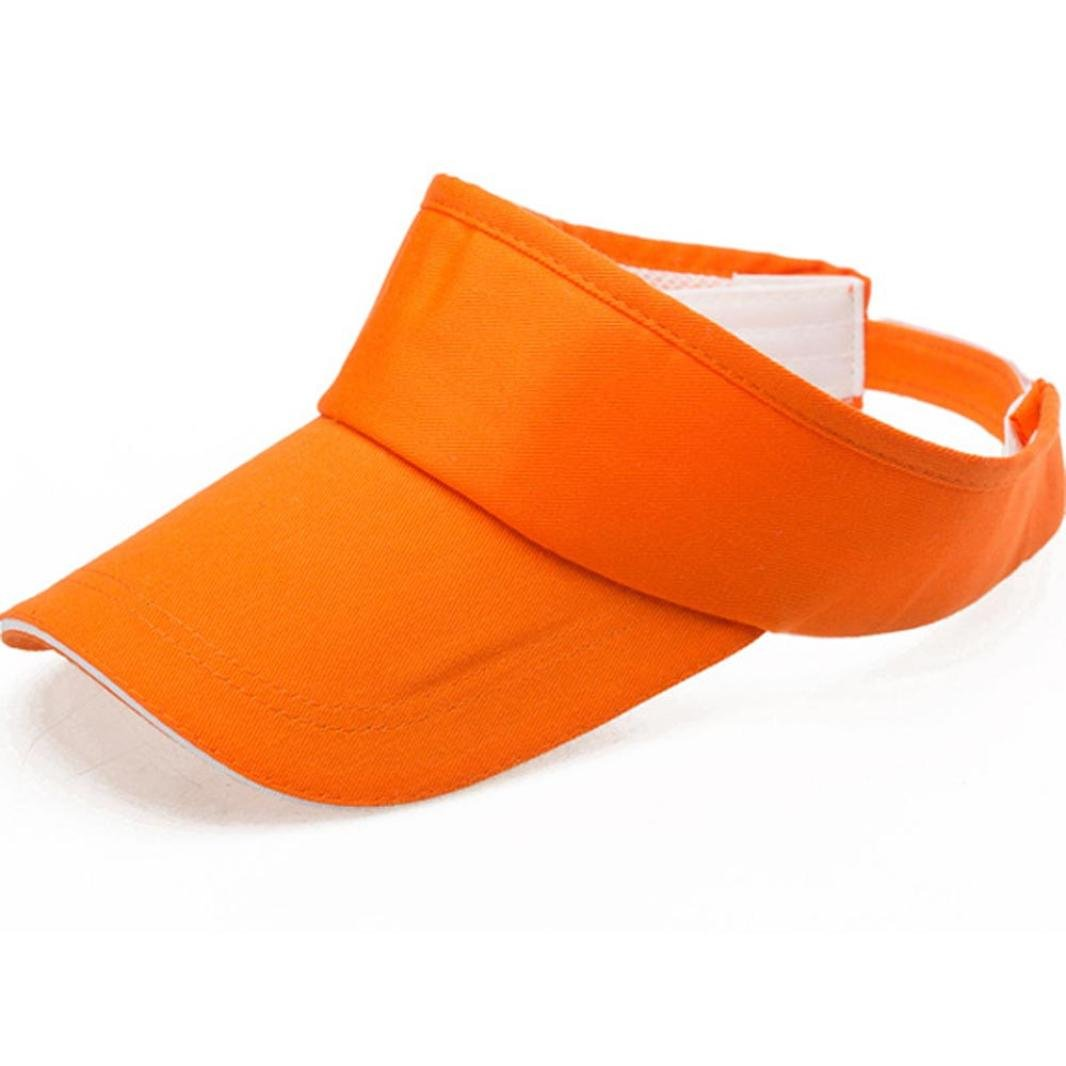 Adult Athletic Mesh Visor Men Women Sport Sun Visor Adjustable Cap (Orange)