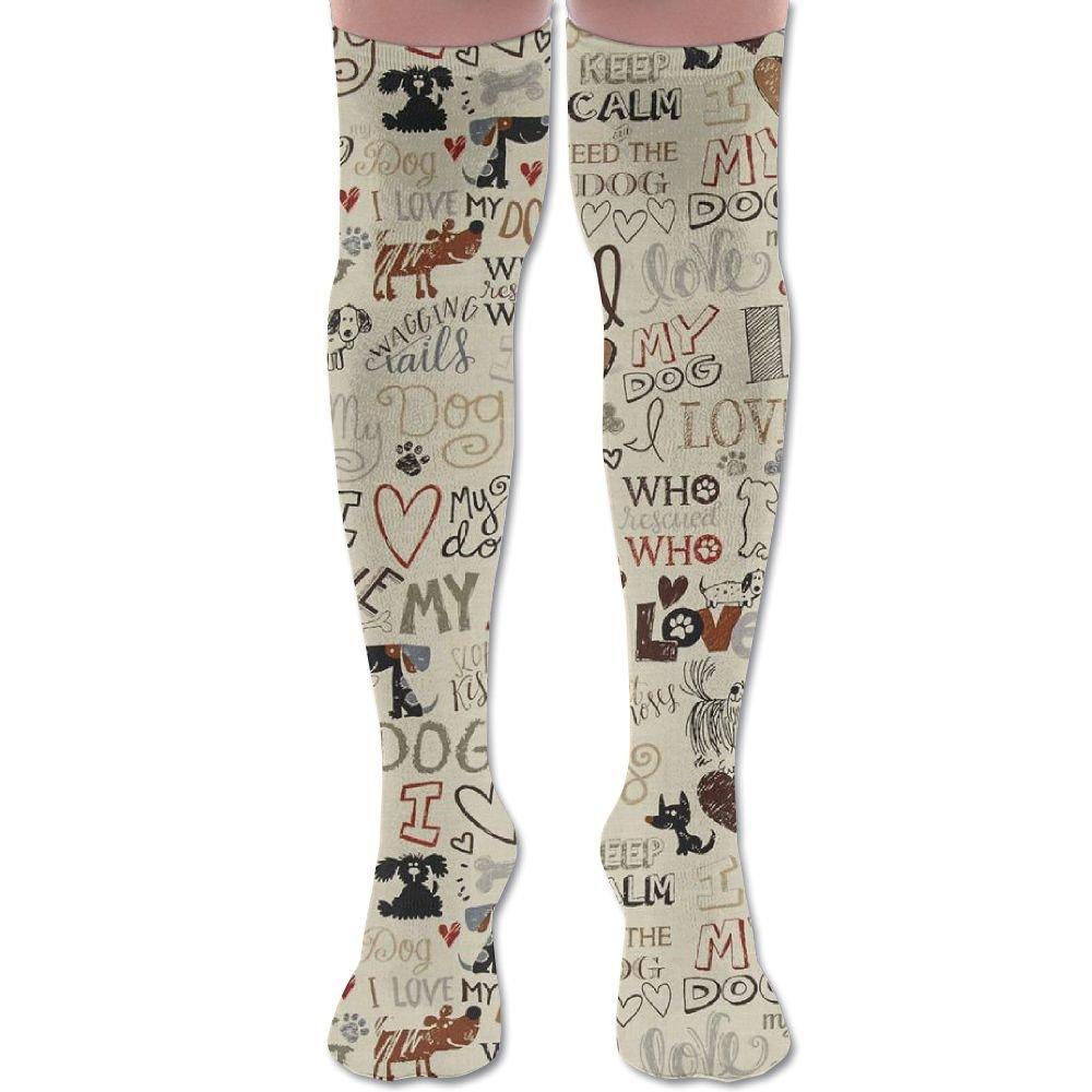 Men's/Women's I Love My Dog Fun Words Casual Crew Top Socks 60cm Length