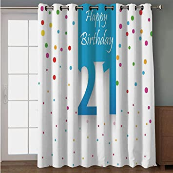 IPrint Blackout Patio Door Curtain21st Birthday DecorationsParty Festive Themed Happy Quote