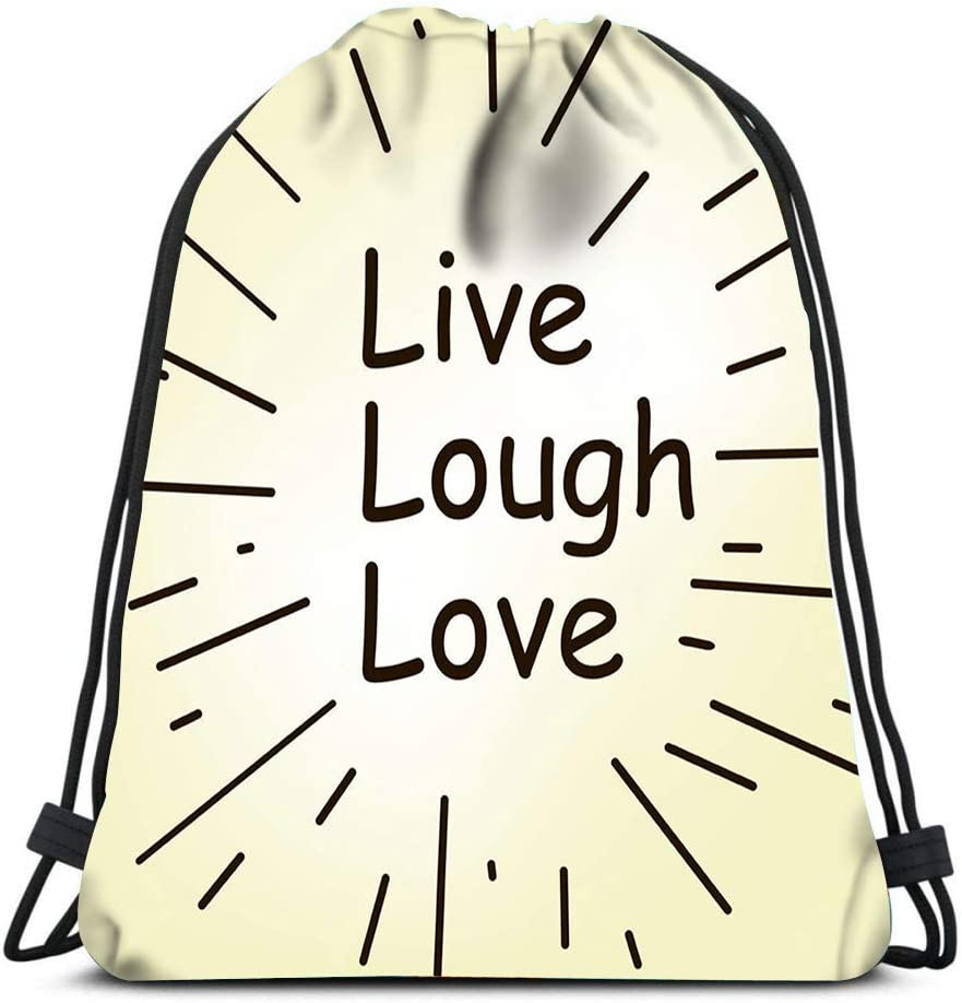 Drawstring Backpack Live Laugh And Love Words Laundry Bag Gym Yoga Bag