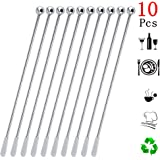 Yephets Stainless Steel Coffee Beverage Stirrers Stir Cocktail Drink Swizzle Stick with Small Rectangular Paddles-10…