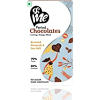 &Me Sugar-Free Vegan Dark Chocolates (70% Cocoa) - for Period Cravings, Mood Swings, Energy - with Ashwagandha (Roasted Almonds and Sea Salt Flavour, 45gm, 6 Bites Each)