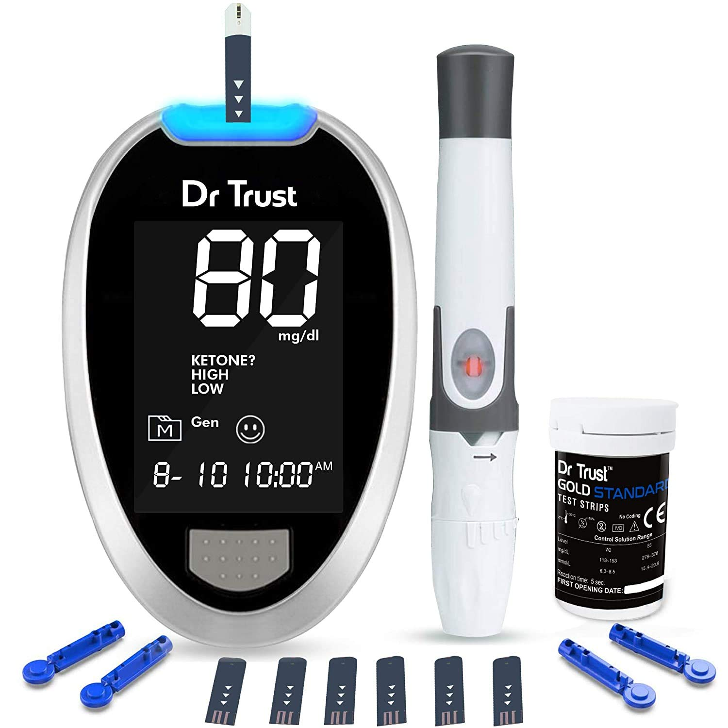 Dr TrustFully Automatic Blood Sugar Testing Glucometer Machine with 10 Strips