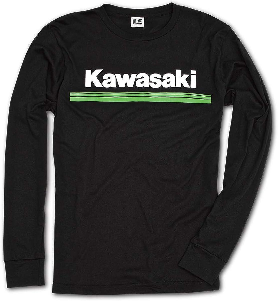 Kawasaki 3 Green Lines Long Sleeve T-Shirt Black