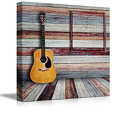 Canvas Prints Wall Art - Guitar and Picture Frame in Vintage Wood Room - 24