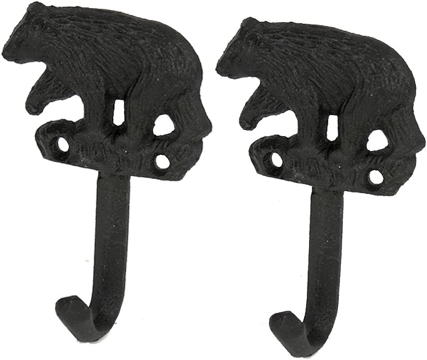 Set of 2 Black Bear Decor Cast Iron Wall Hooks, Coat Hooks, Towel Hooks