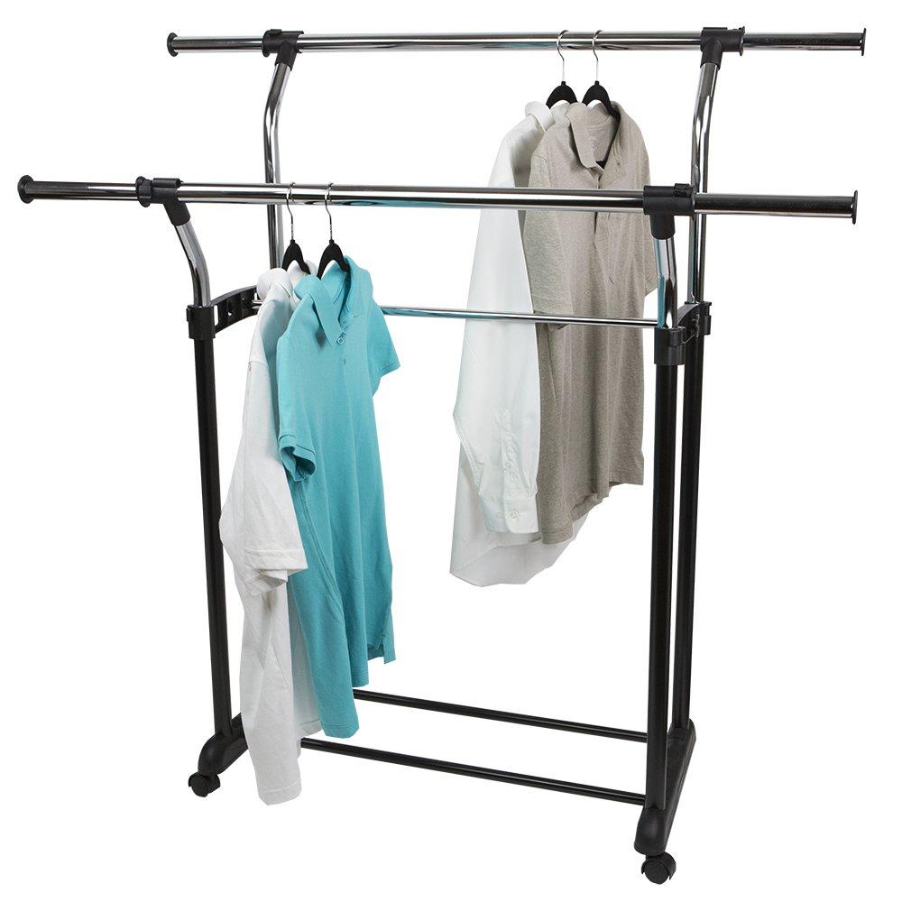 Sunbeam Chrome Plated Steel Adjustable Double Rail Garment Rack, Black