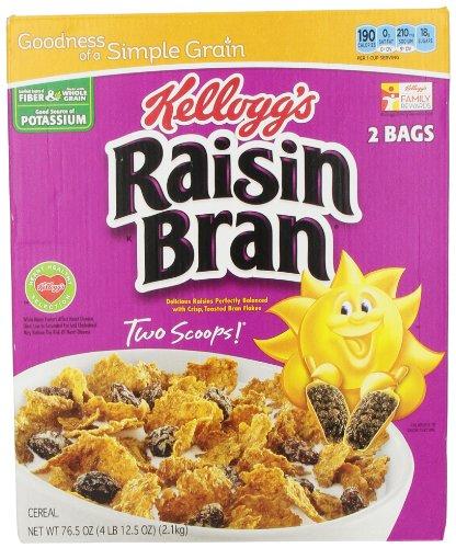 Kellogg's Raisin Bran, Breakfast Cereal, Original, Excellent Source of Fiber, 76.5 oz Box (2 Bags)