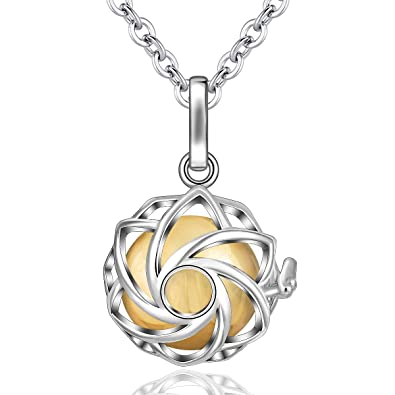 EUDORA Harmony Bola Necklace Yoga Lotus Locket Pendant Necklace with The Music Chime Bell Women Jewellery, Romantic Gift 30