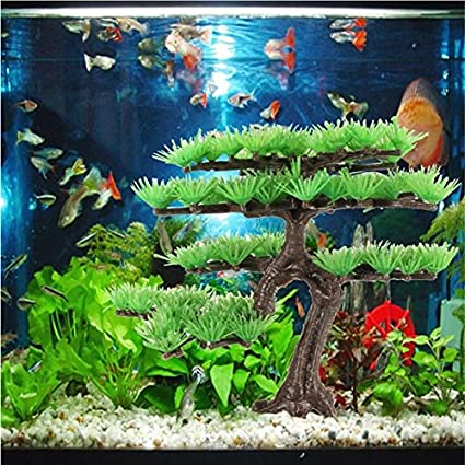 Paleo Planta de árbol de pino de plástico acuario para peces de adorno tanque de la