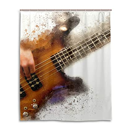 JSTEL Cortina de Ducha Decorativa Abstracta con diseño de Guitarra eléctrica, 100% poliéster,