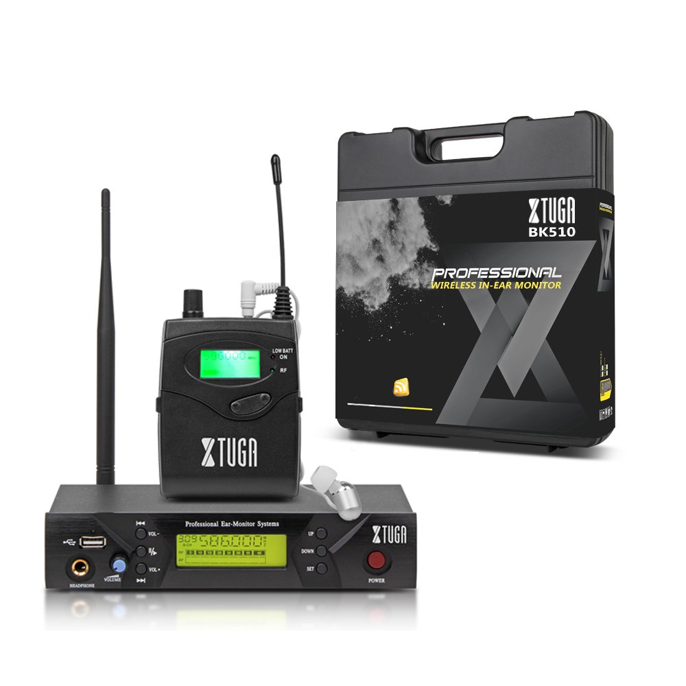 XTUGA BK510 Single Channel Wireless In-Ear Monitor System UHF 40-Channel Wireless Professional In-Ear Monitor System USB and White color Earphone with carry case