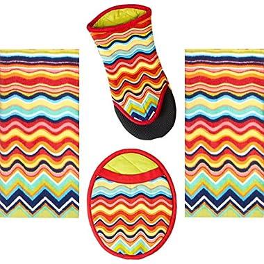 4 Piece Fiesta Multicolor Zig Zag Kitchen Set - 2 Terry Towels, Puppet Oven Mitt, Oval Pocket Mitt