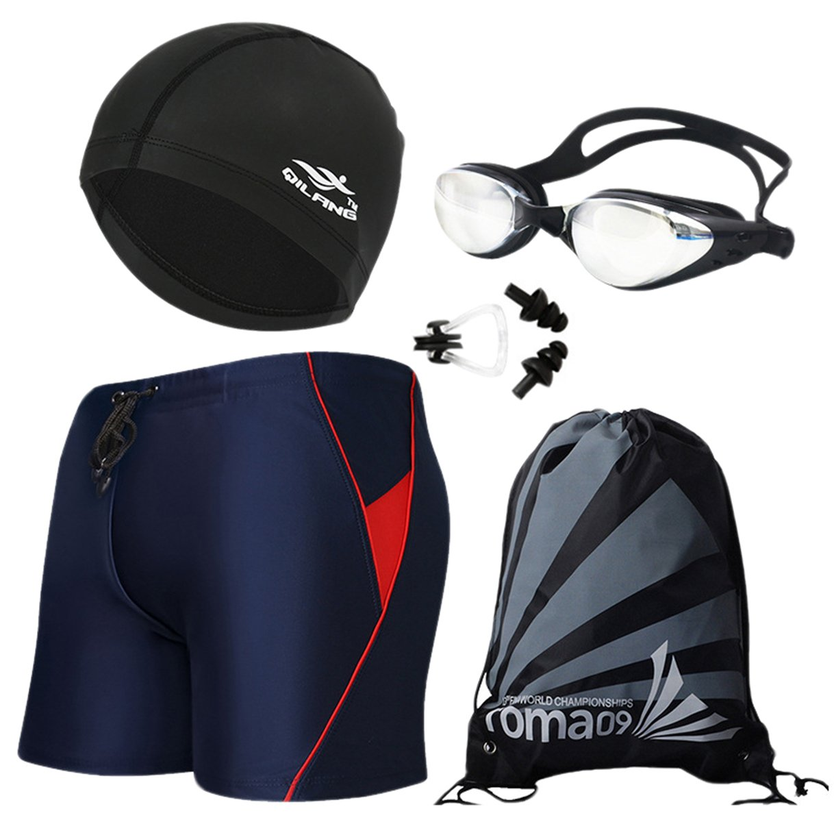 Men's Swimwear Suits, Swim Shorts + Swim Goggles + Swimming Cap + Swimsuit Nose Clip and Ear Plugs + Beach Store Bag, 1# Navy Blue + Red, Tag Size XL = US S