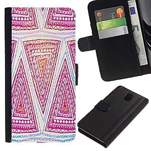 [Neutron-Star] Modelo colorido cuero de la carpeta del tirón del caso cubierta piel Holster Funda protecció Para Samsung Galaxy Note 3 III [Patrón Art Dibujo Rosa Mano]