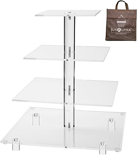 Jusalpha 4 Tier Square Acrylic Cupcake Tower Stand