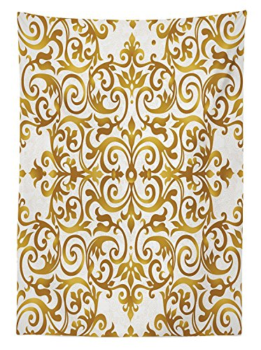 Kitchen Decor Tablecloth Victorian Golden Lace Antique Baroque Pattern Oriental Ottoman Royal Square Pattern Dining Room Kitchen Rectangular Table Cover White Gold (Ottoman Threshold Target)