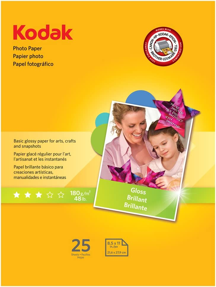 "KODAK Photo Paper Gloss 8.5""x11"", 25 count, 48lb-180g/m2 weight, 6.5 mil thickness (41161 - 1912369),White"