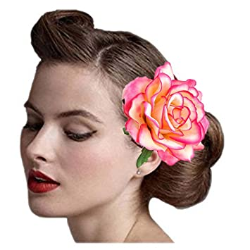 Amazon wcysin pink rose flower hair clip slide flamenco dancer wcysin pink rose flower hair clip slide flamenco dancer pin flower brooch lady hair styling clip mightylinksfo