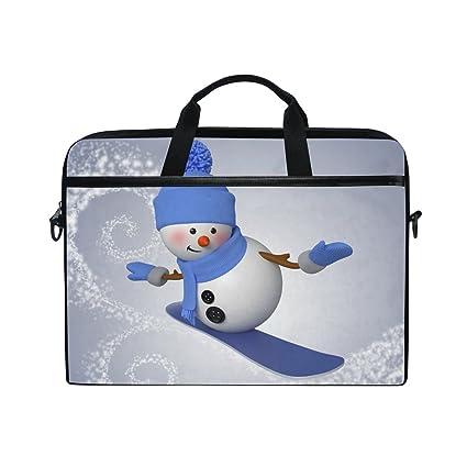 Ahomy - Bolso Bandolera para Ordenador portátil, diseño de muñeco de Nieve con Dibujos Animados