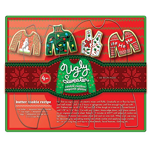 Fox Run 36039 Ugly Christmas Sweater Cookie Cutter Set, Tin-Plated Steel, - Fox Christmas