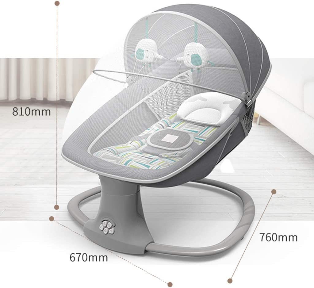 Balance Bouncer Cradle Electric Home Baby Rocking Chair Baby Cradle Recliner Bluetooth Music Infant Swing Cradle Intelligent Remote Control Color : Gray 2