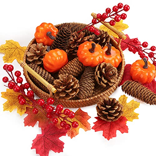 JOHOUSE 21PCS Pinecones and Pumpkin Combination,Fake Pumpkin and Pinecones Set, Artificial Pumpkins Home Decoration Set for Thanksgiving and Christmas Decoration