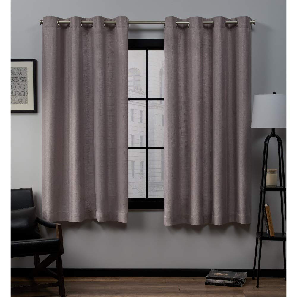 Dusty Lavender 63  Length Exclusive Home Curtains Loha Grommet Top Panel Pair, Dove Grey, 52x96, 2 Piece
