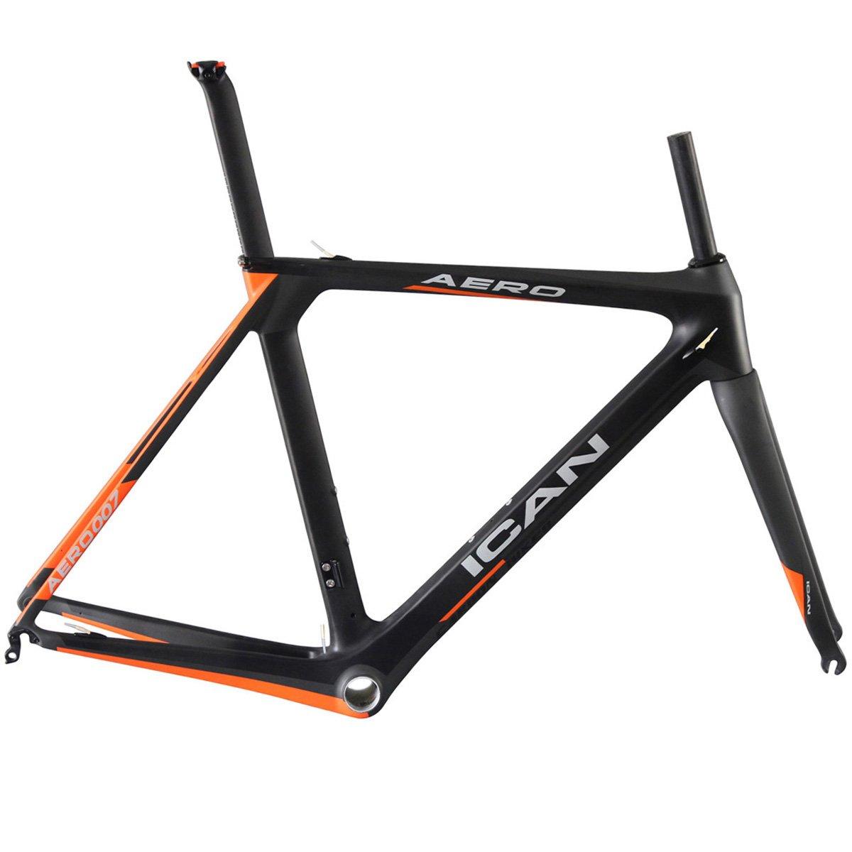 ICAN(アイカン) 超轻量エアロ カーボン ロードバイク フレームセット 50/52/54/56/58cm 空気力学的なデザイン オレンジ塗装 フレームの重量は約1270g B01DEOQGDS 52cm