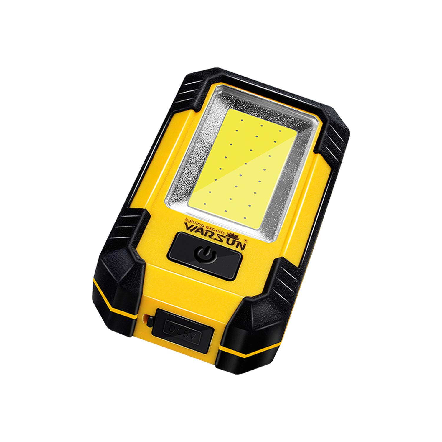 WARSUN Portable LED Rechargeable Work Light,Magnetic Base & Hanging Hook, 30W 1200Lumens Super Bright, 5000K, for Car Repairing, Camping, Hiking, Backpacking, Fishing, Hurricane, Yellow by Warsun