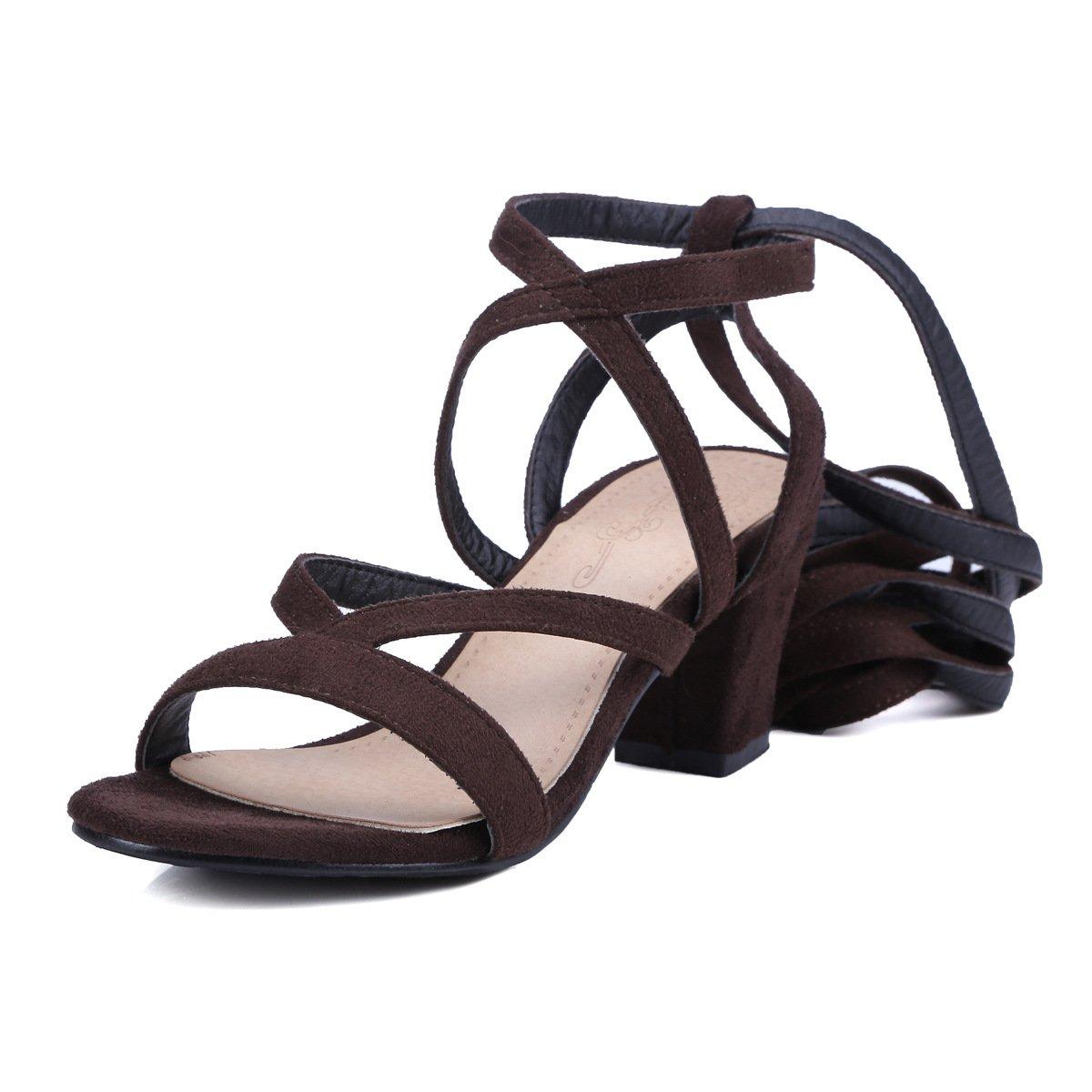 Sandalen Woherren Open Toe High High High Heels Dünnen Gürtel Riemchen Römische Schuhe Braun 40 e9b88b