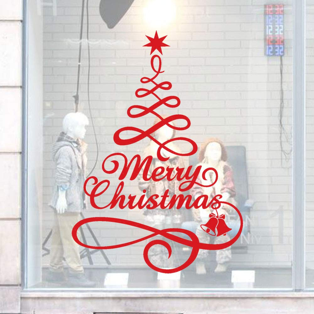 Ximandi Christmas Tree Pattern Window Clings Decal Wall Stickers - Xmas/Holiday/Winter Wonderland White Decorations Ornaments Party Supplies (Red)