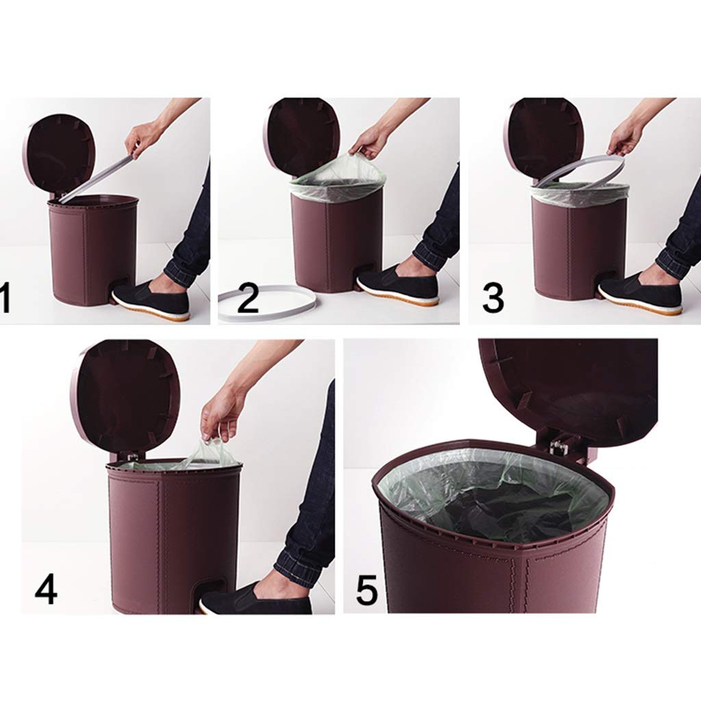 JIA JU Diseño de imitación de Cuero de 14 litros para Contenedor de Pedal para litros Cocina Cuarto de baño Bandeja de Basura (Color : Vino Rojo) 7dd60f