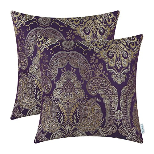 Pack of 2, CaliTime Supersoft Throw Pillow Covers Cases for Couch Sofa Home Decor, Vintage Damask Floral, 18 X 18 Inches, Deep - Plum Gold