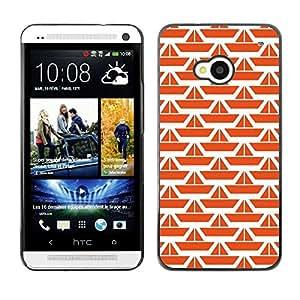 FECELL CITY // Duro Aluminio Pegatina PC Caso decorativo Funda Carcasa de Protección para HTC One M7 // Pattern Orange White Ship Clean