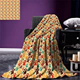 smallbeefly Dog Lover Digital Printing Blanket Colorful Paw Print Pattern with Various Sizes Abstract Animal Canine and Feline Summer Quilt Comforter Multicolor